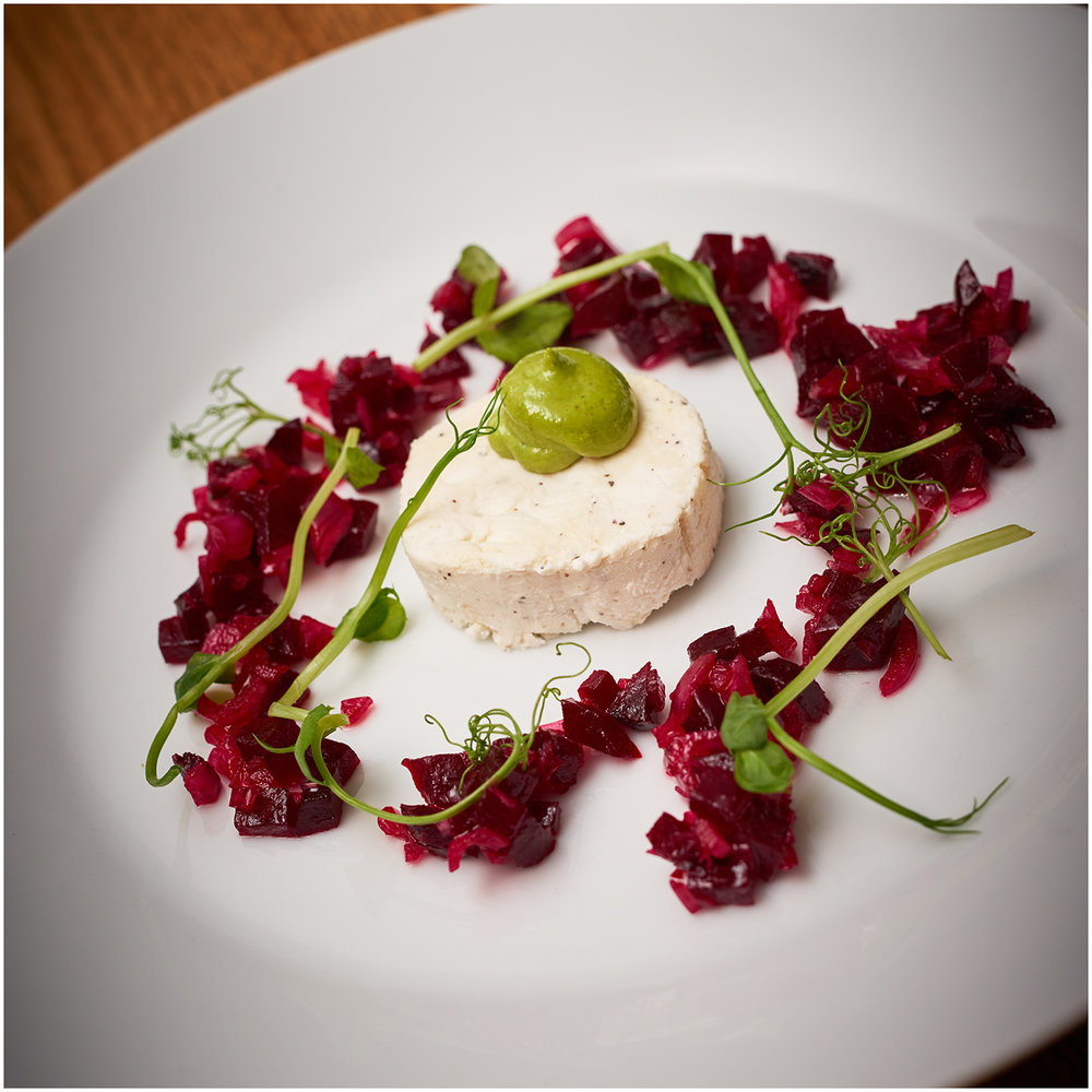 First course; goats cheese with basil mayo, beetroot and pea shoots