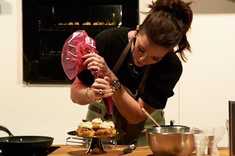 Candice Brown, Great British Bake Off Winner 2016, gives a demonstration on making choux buns with pear and chocolate