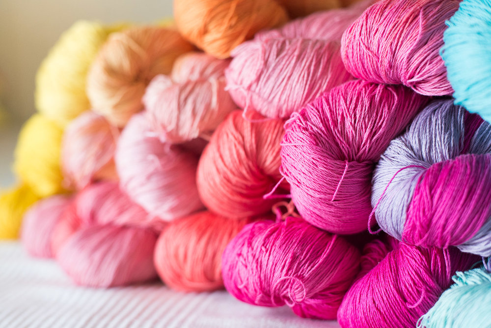 Skeins from the Facing The Sun colourway; the theme for the collection was dreaming boldly and sticking to your dreams even if life seems sometimes hopeless. These skeins are Suvin cotton.