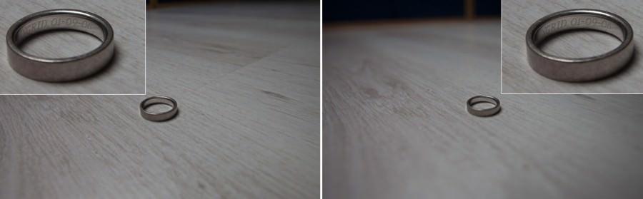 trouwringen fotograferen  links F8.0 24mm 1/25sec ISO100   rechts F2.8 24mm 1/160sec ISO100