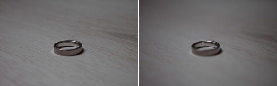 trouwringen fotograferen  links F8.0 70mm 1/25sec ISO400   rechts F2.8 70mm 1/125sec ISO100