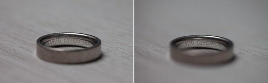 trouwringen fotograferen  links 100mm F8.0 1/100sec ISO2000   rechts F2.8 100mm 1/100sec ISO200