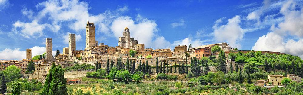 de skyline van San Gimignano