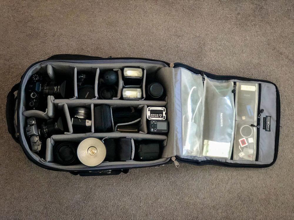 Mijn ThinkTank Airport Security gevuld met camera gear