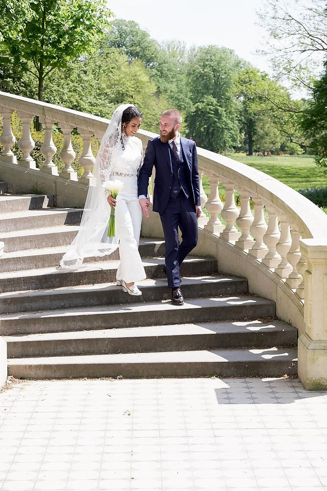 trouwreportage bij de Spaanse trappen in Clingendael
