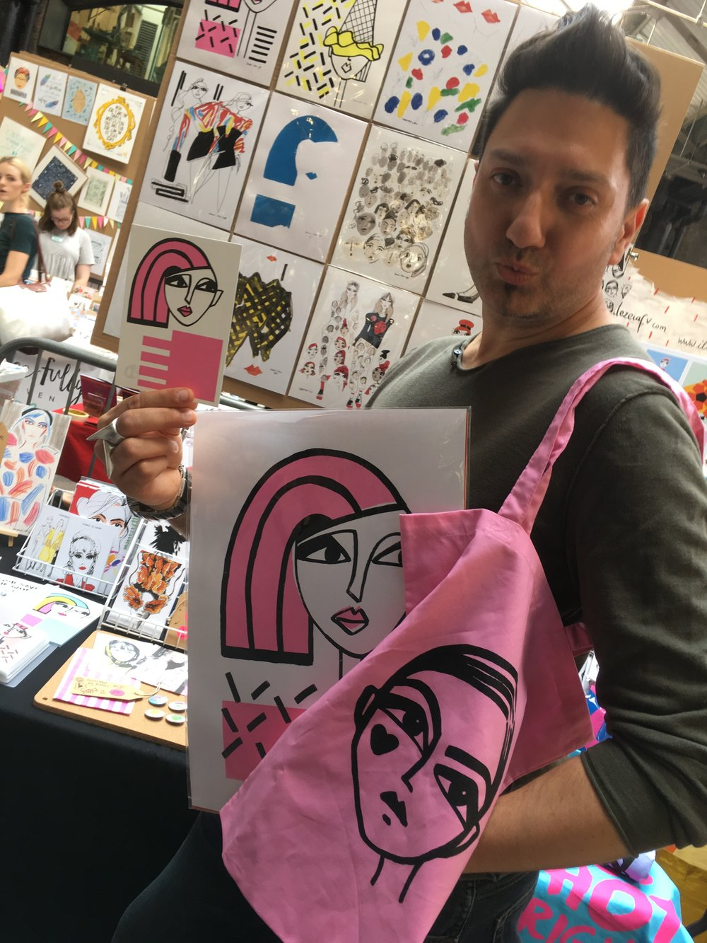 Top DD customer Eddie back in July: loving his new pink tote and  Pink Hair Don't Care screenprint !