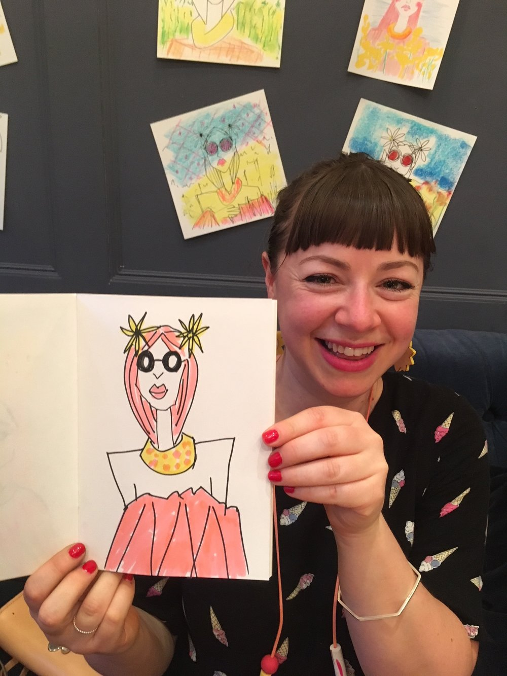 Our Kayti - rightfully chuffed with her awesome illustration!  See more pics from the night here