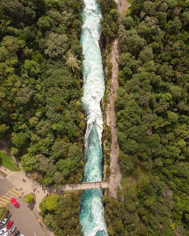 Huka Falls from the sky looks magical. I love New Zealand.