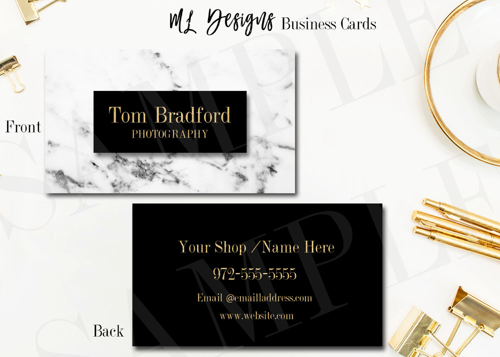 Marble Business card Gold Lettering Marble Black back Premade ...