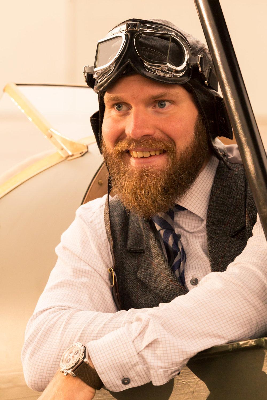 Sunset aviator vintage portrait