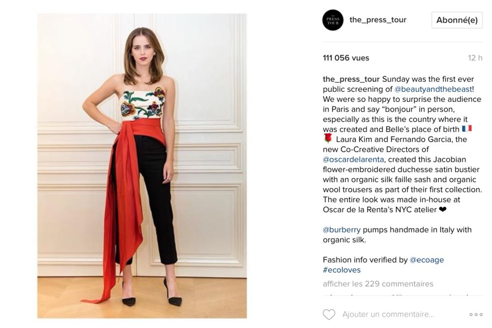 Emma Watson partage ses choix en matière de mode durable sur son compte Instagram : The_Press_Tour