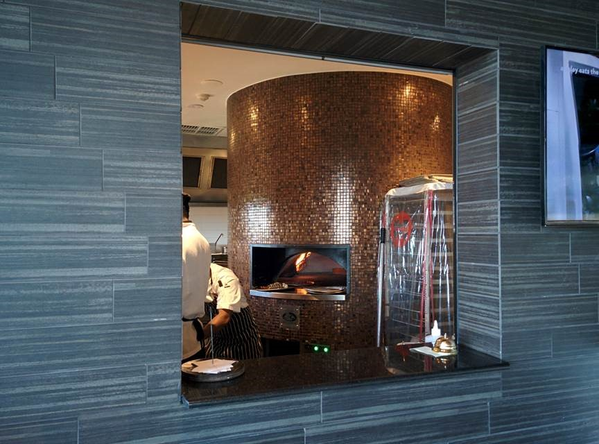 Pizza Oven -    CT19 Glass Mosaic 20 x 20mm, Bronze.     Internal Core & External Wall Tile -    CT10 Linear cut to 100 x 600mm, Charcoal.
