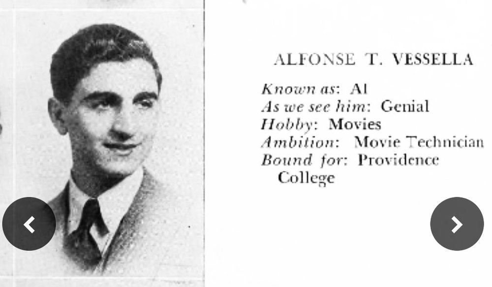 Alphonse (correct spelling) Vessella high school yearbook photo.