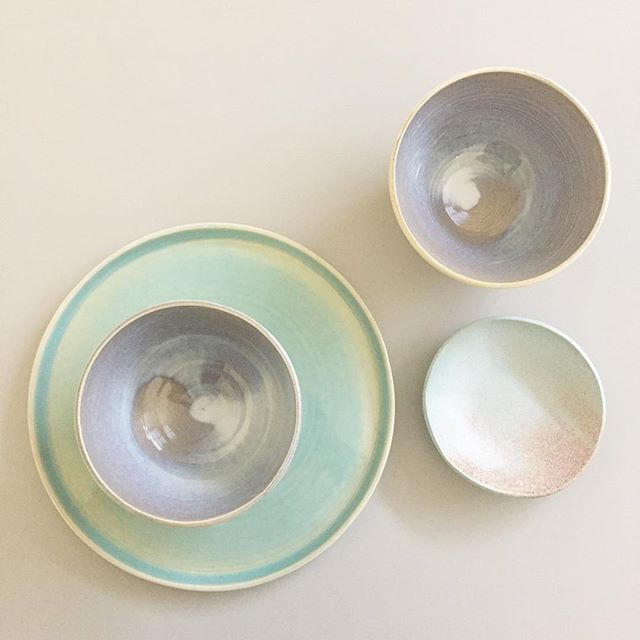 Shiny sets of wheelthrown plates & bowls #cerámica #ceramics #wheelthrown #handmadeinbarcelona #poblenou #platesforchefs