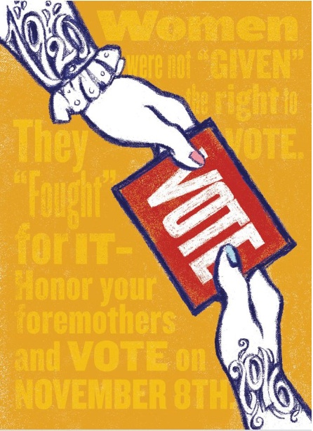 Poster by Ann Willoughby celebrating women's right to vote.