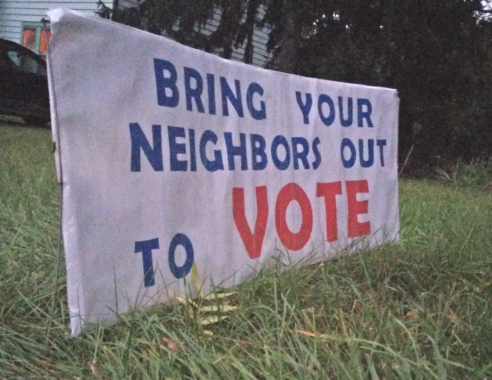 Homemade yard sign on Miller Avenue.