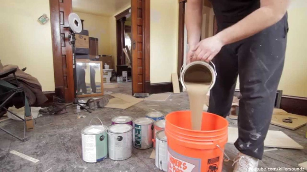 """Boxing"" your paint into a 5 gallon bucket to mix for consistency."