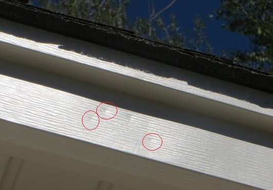 Hail damage to aluminum fascia