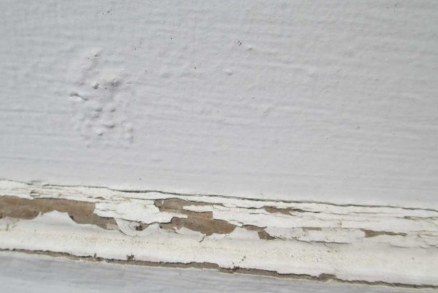Hail damage to siding paint