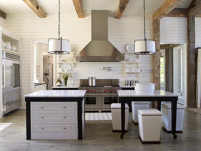 China White by Benjamin Moore in a beautifully designed rustic/modern kitchen.source:Tracery Interiors