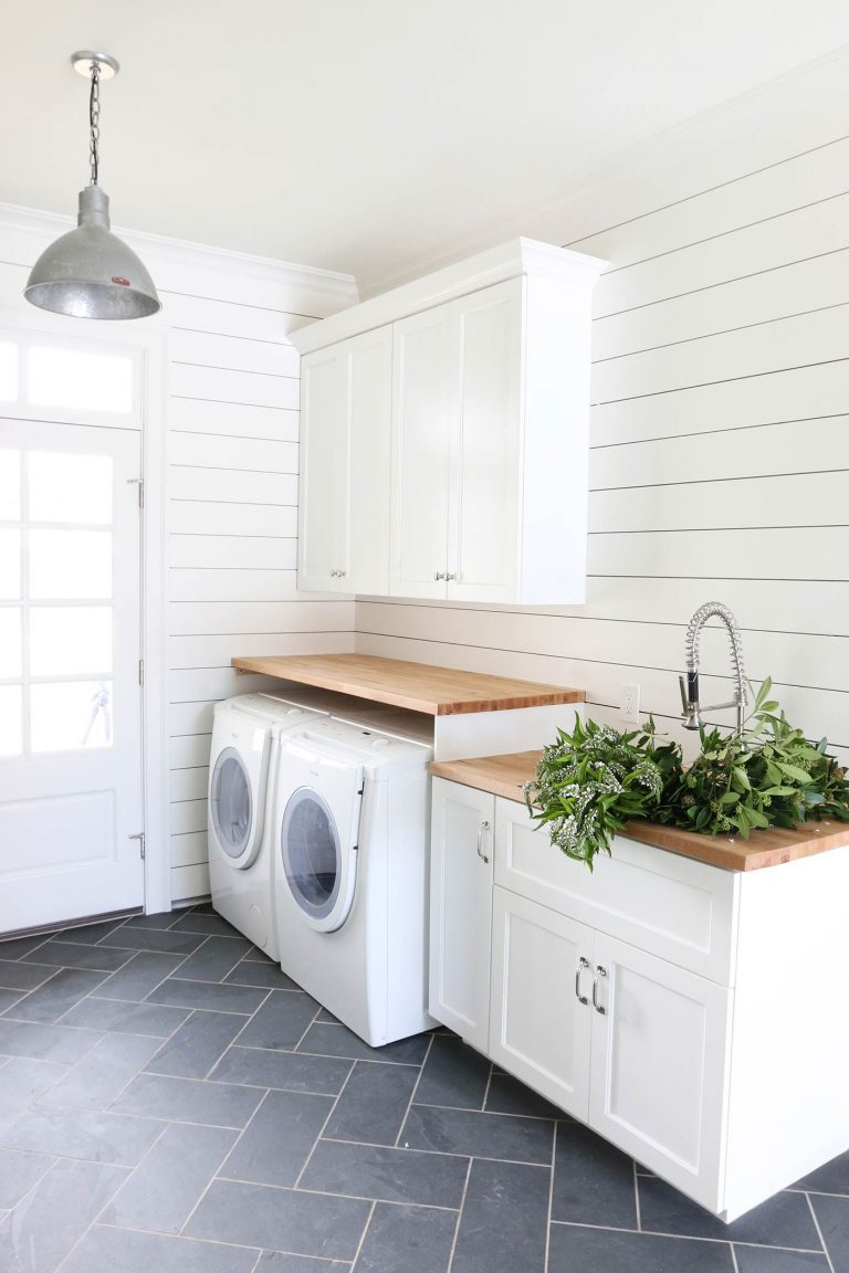Simply White by Benjamin Moore in this mudroom by Studio McGee. Source:STUDIO MCGEE
