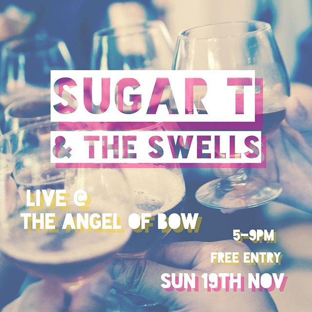 We're at @angelofbow THIS SUNDAY! And better yet, it's free entry. Come down for Sunday pints and a healthy dose of the UK's finest R'n'B. 5-9 pm. #AllAboard! . . . . . #livemusic #pubband #angelofbow #theswells #sugartandtheswells #london #bow #eastlondon #rnb #rhythmandblues #sunday #sundayafternoon #sundayvibes