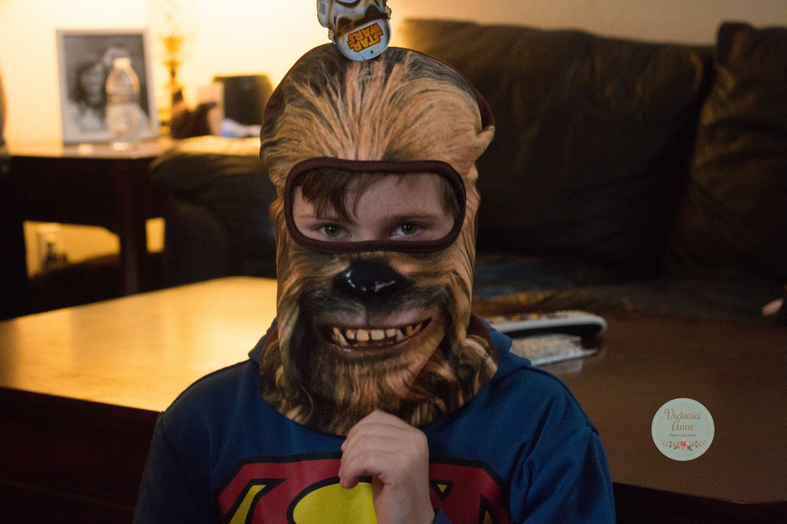 My mother in law got these awesome ski masks for the boys, one is Chewy and one is Darth.