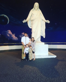 My cute little family in the North Visitor center on Temple square in Salt Lake City, Utah. We believe the Christ died so that all man-kind maybe saved. He is the way and the light, and through his sacrifice my family will be together for eternity. If you would like to learn more about our church and beliefs please visit LDS.org or Mormon.org.