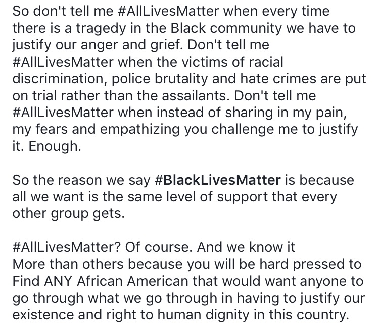 A Facebook post by  LMani S. Viney  on Facebook, regarding his views on the  mantra #All Lives Matter.