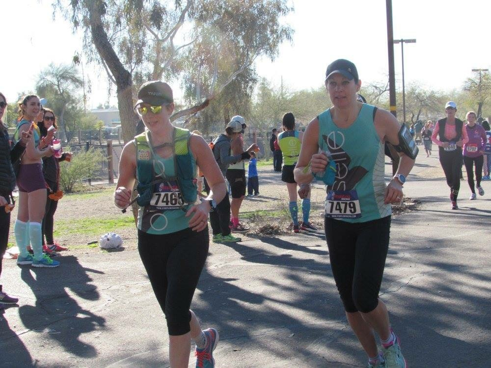 During the Phoenix Women's Half Marathon, alongside my friend and teammate Cathy.