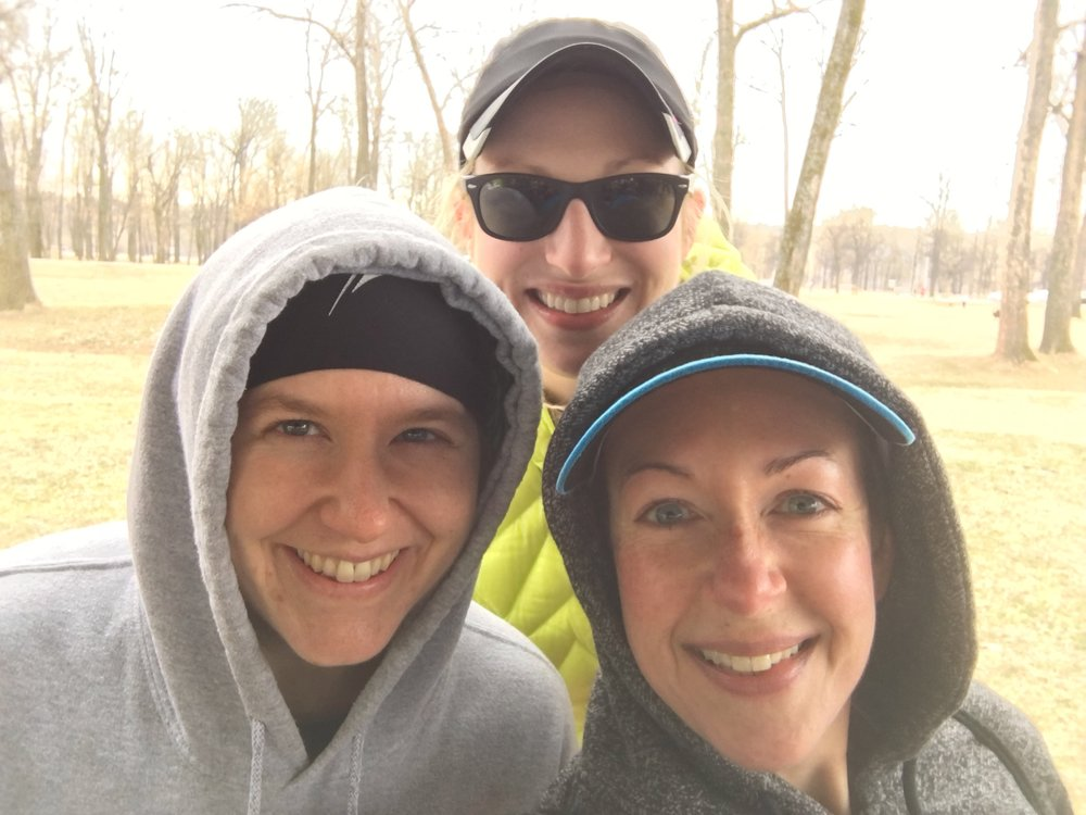 Mindy, Whitney and I, trying to stay warm after the race!