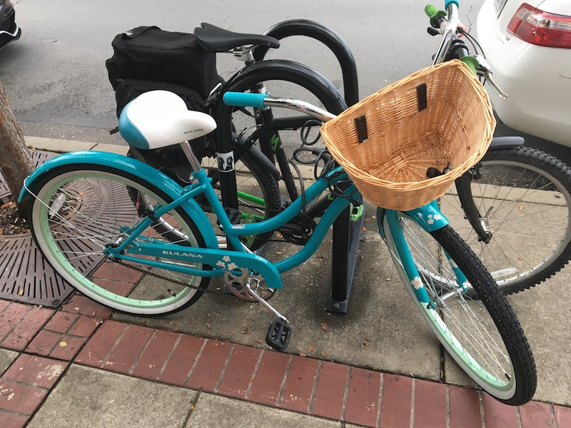 My favorite bicycle at bib pickup; everyone needs a basket!