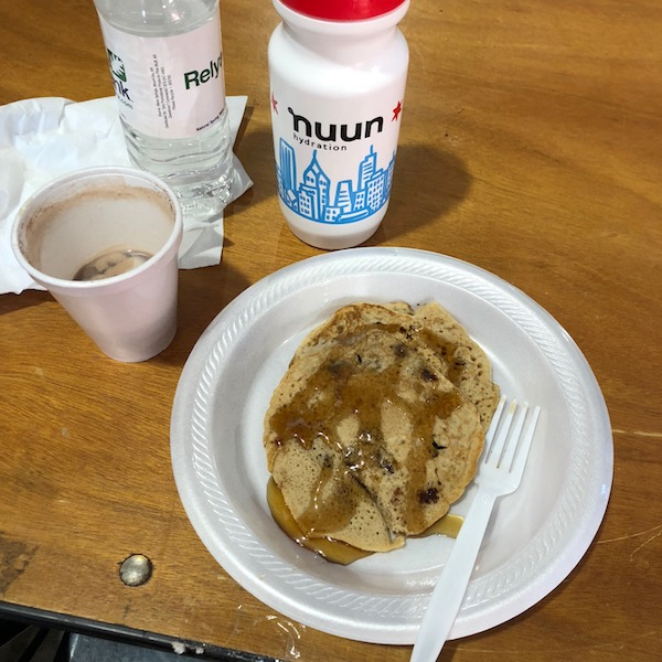 Chocolate chip pancakes and hot chocolate at the finish? Yep!