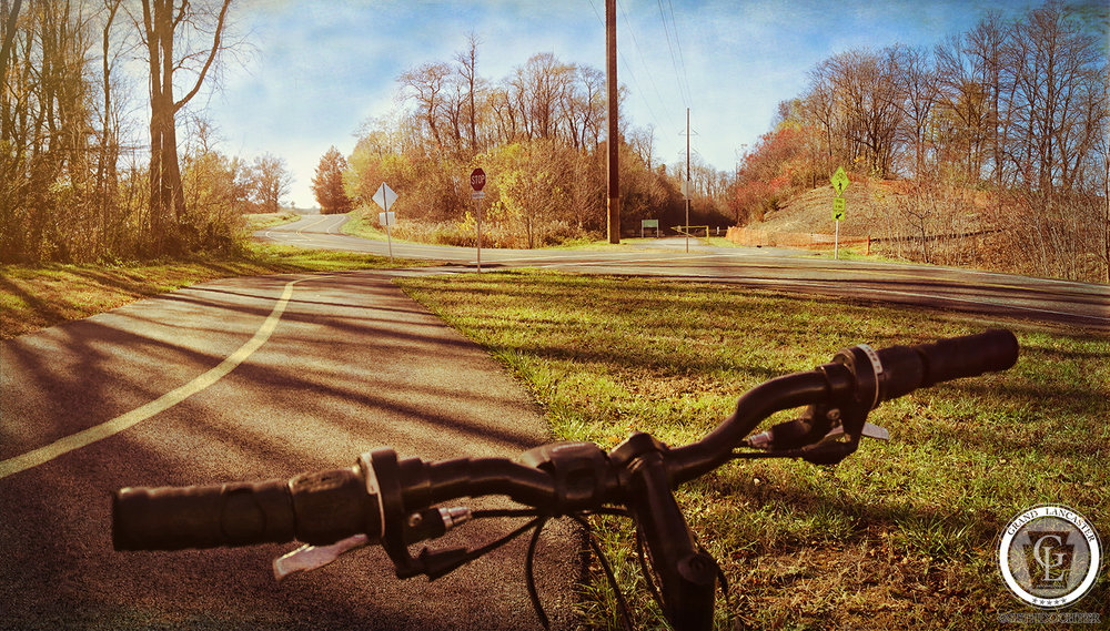 This wide panoramic view over the handlebars was captured as I headed from the parking lot towards Fairview Road.