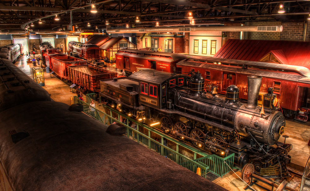 View from the catwalk at the Railroad Museum of Pennsylvania.
