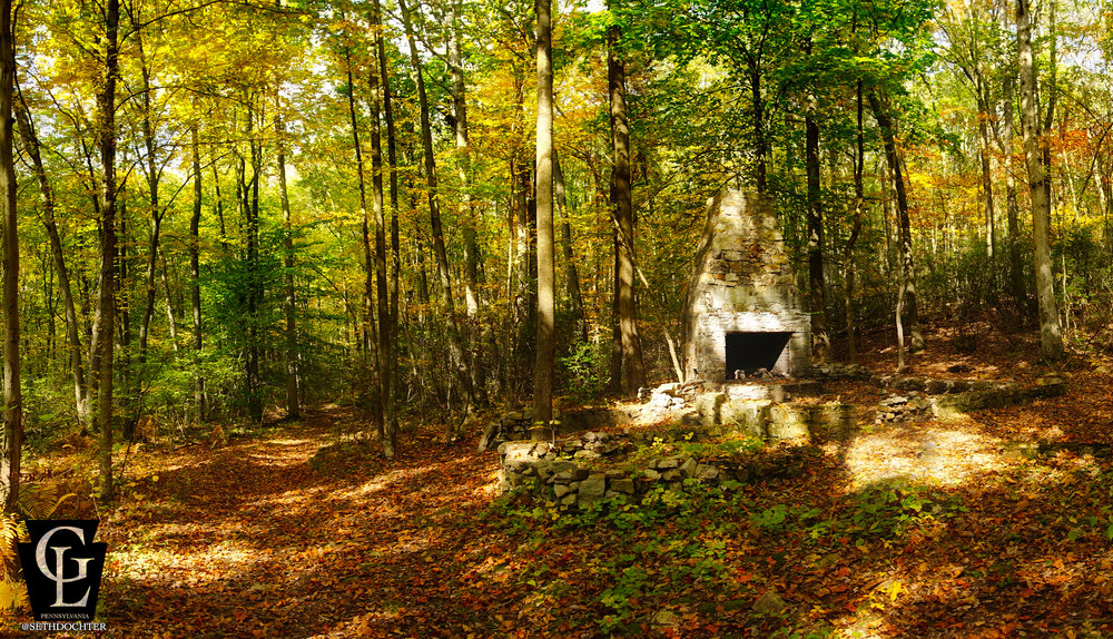 Panoramic view of some homestead remnants along the trail at the Welsh Mountain Preserve.