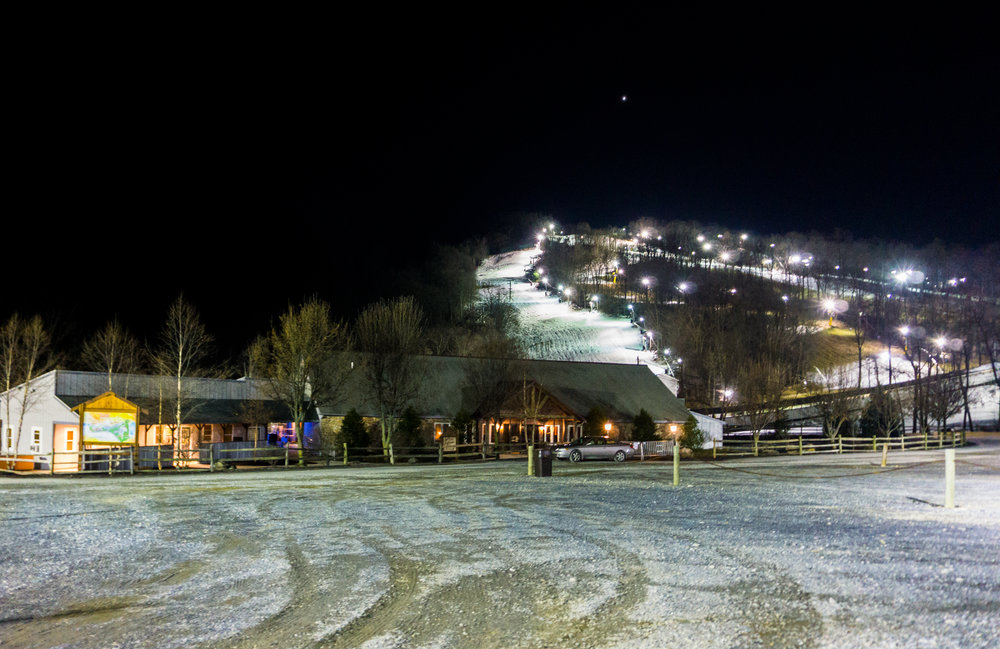 The eastern edge of Rountop Mountain Resort behind the Snow Tubing parking lot.