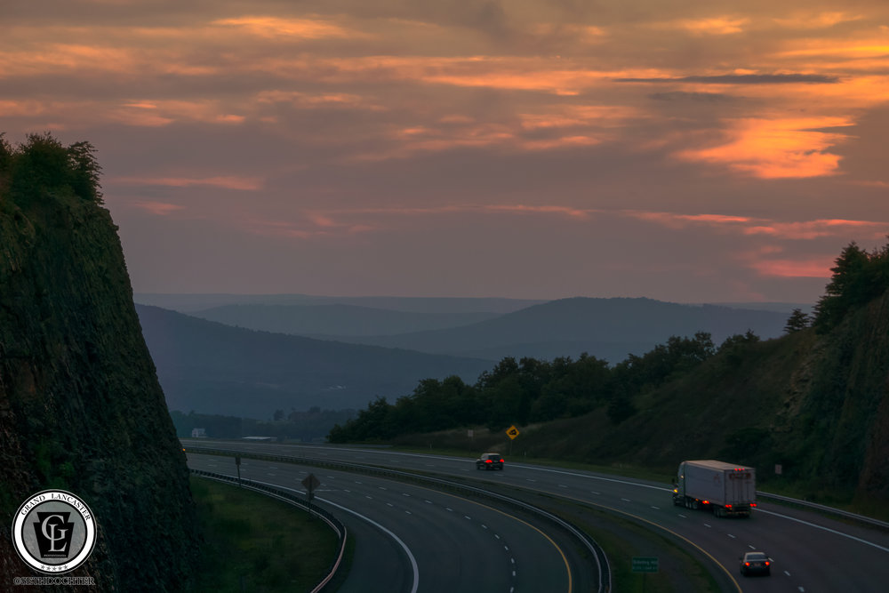 Looking west at Sunset from Sideling Hill Welcome Center during our return trip.