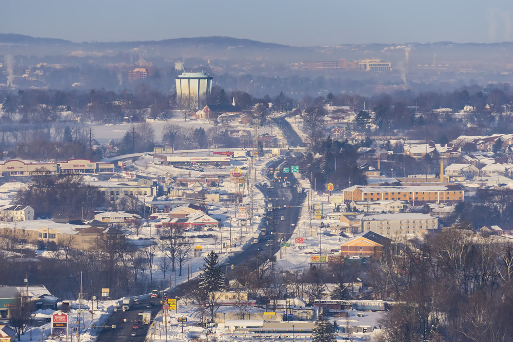 Looking west down Lincoln Highway East (Route 30) towards the city of Lancaster, PA.