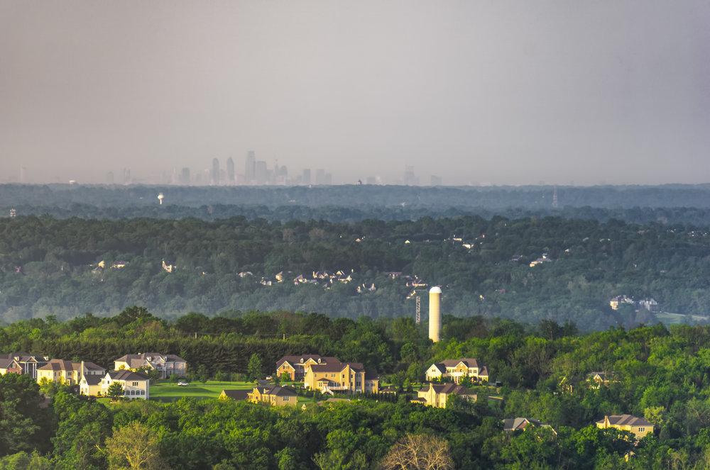 The Philadelphia Skyline lying beyond the rolling hills of Bucks County.