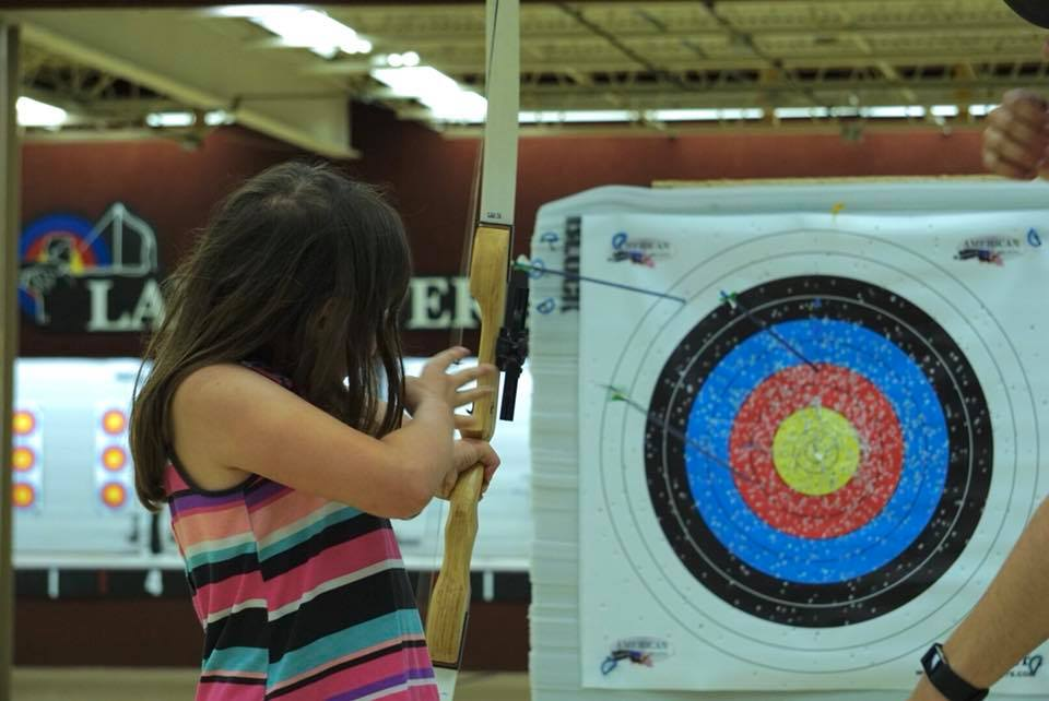 Zoe Taking Aim at Lancaster Archery Academy