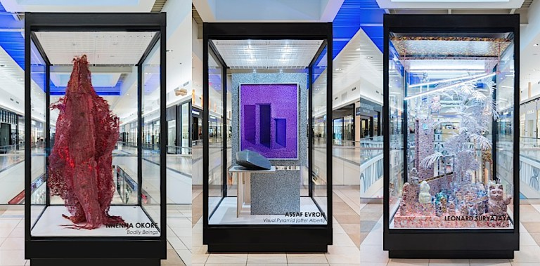 Fashion Outlets of Chicago. Artwork by artists (from L to R) Nnenna Okore, Assaf Evron, Leonard Suryajaya. Photograph by Jim Prinz.