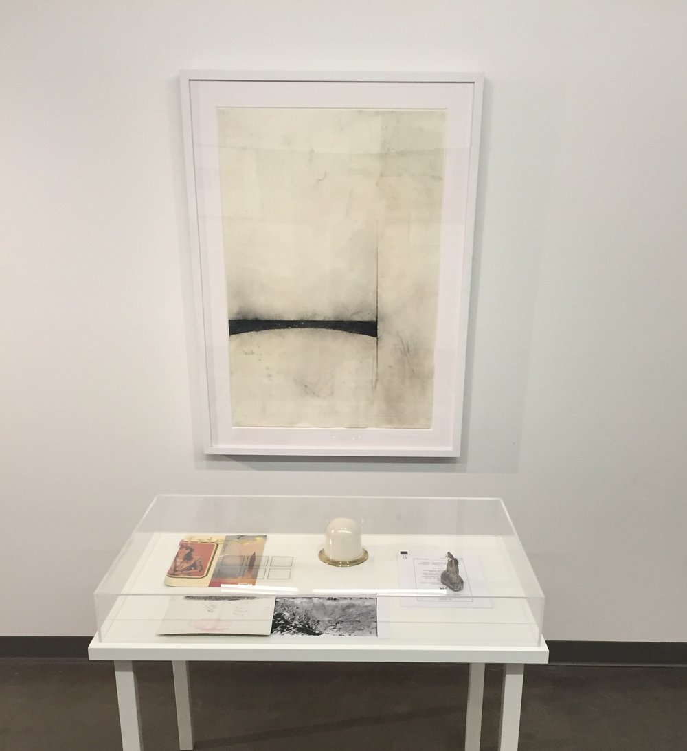 """Installation view from """"Across the Sky, Came a Screaming"""" at the Evanston Art Center, 2016"""