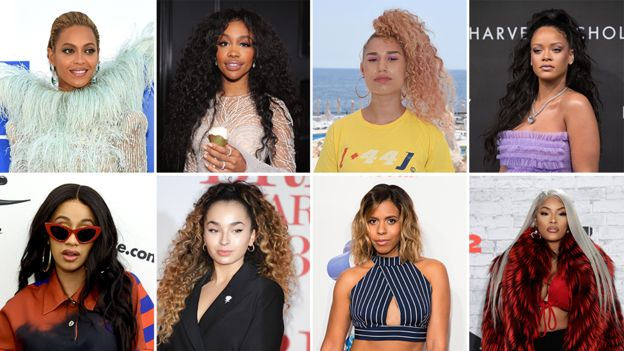 (L-R)Beyonce, Sza, Raye, Rihanna, Cardi B, Ella Eyre, Kelli-Leigh and Stefflon Don all appeared on top 10 hits since 2017
