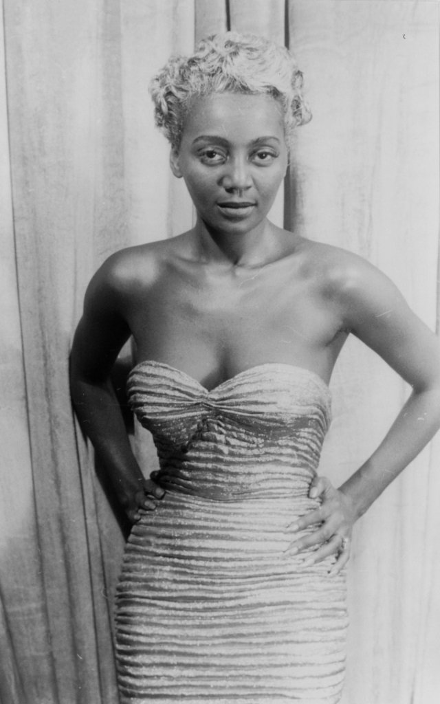 Joyce Bryant wearing a signature look from Zelda Valdes