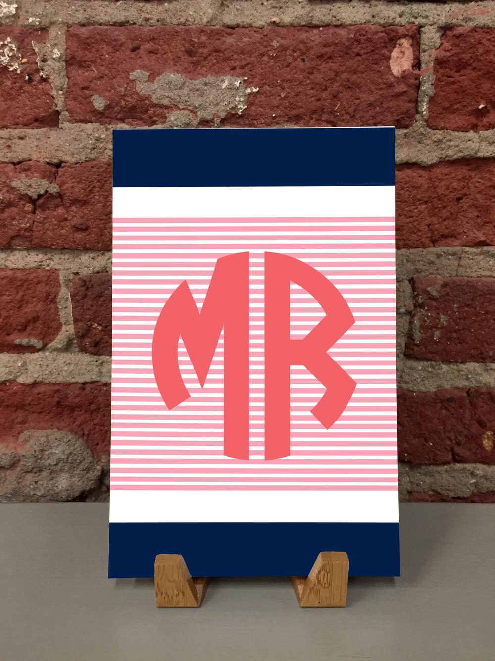 Color Block Monogram 5.5x8.5 Notepad (NP-142) — Kramer Drive
