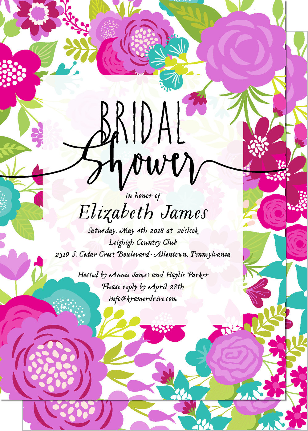 KD2138IN-PB Floral Frame Bridal Shower