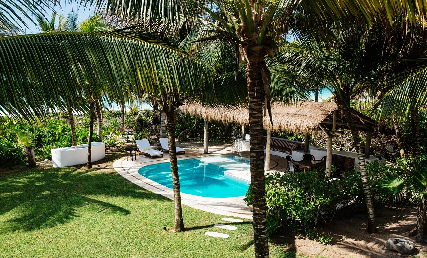 One of two private outdoor palapas for guests - the other one is at the beach.