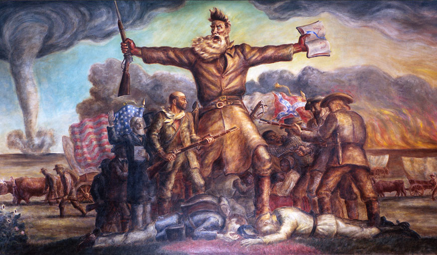 "John Brown depicted in ""Tragic Prelude,"" Kansas Statehouse mural by John Steuart Curry"