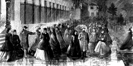"""""""Lady Clerks Leaving the Treasury,"""" from Harper's Weekly, 1865."""